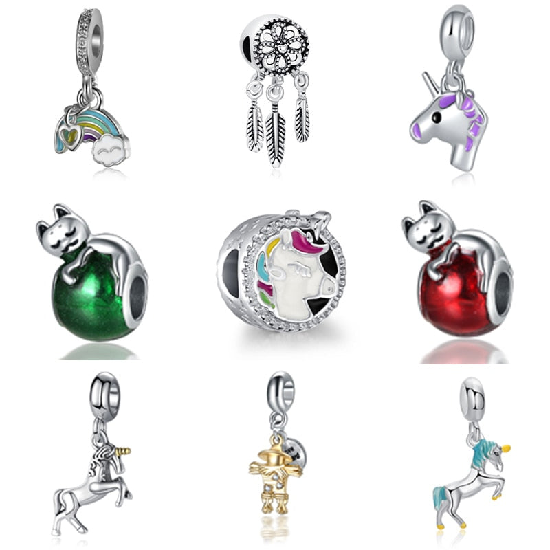Plated Silver Animal Crystal Charms Pendant Beads