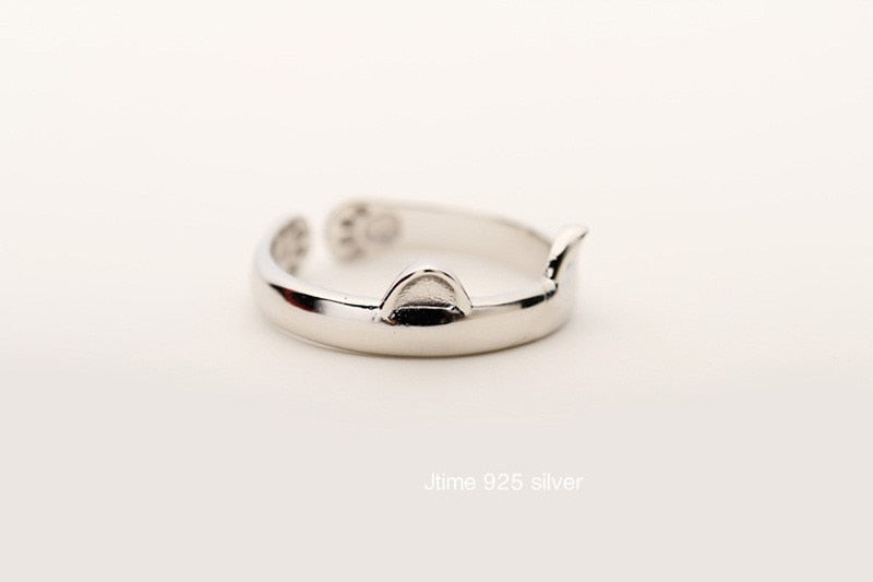Silver Plated Cat Ear Ring Design Cute Fashion Jewelry Cat Ring