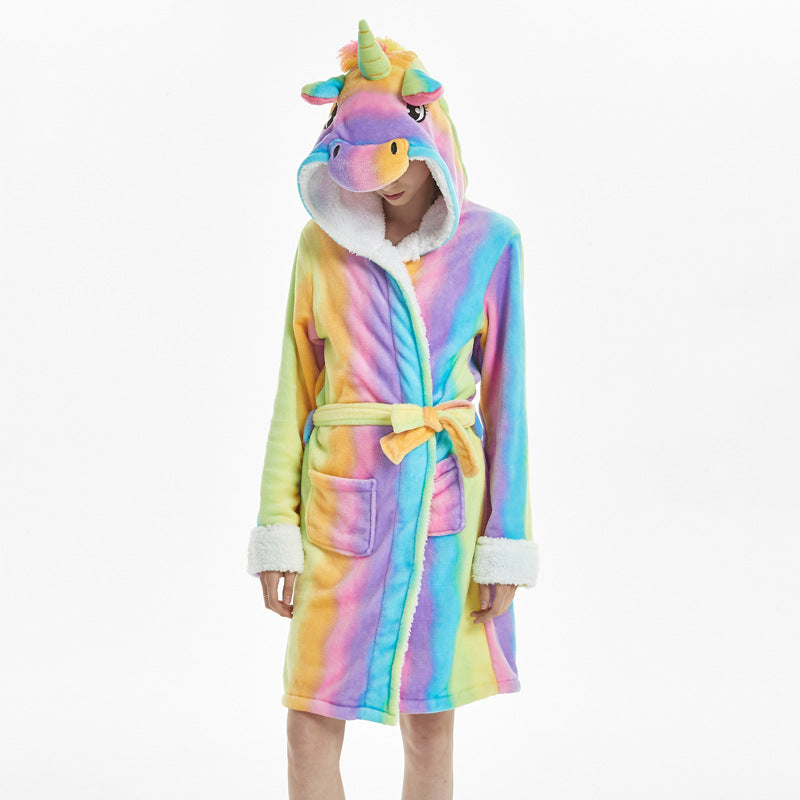 Cartoon Animal Unicorn Flannel Bathrobe Sleepwear