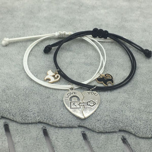Cute Cat Pendant Romantic Couple Stitching Heart Bracelets
