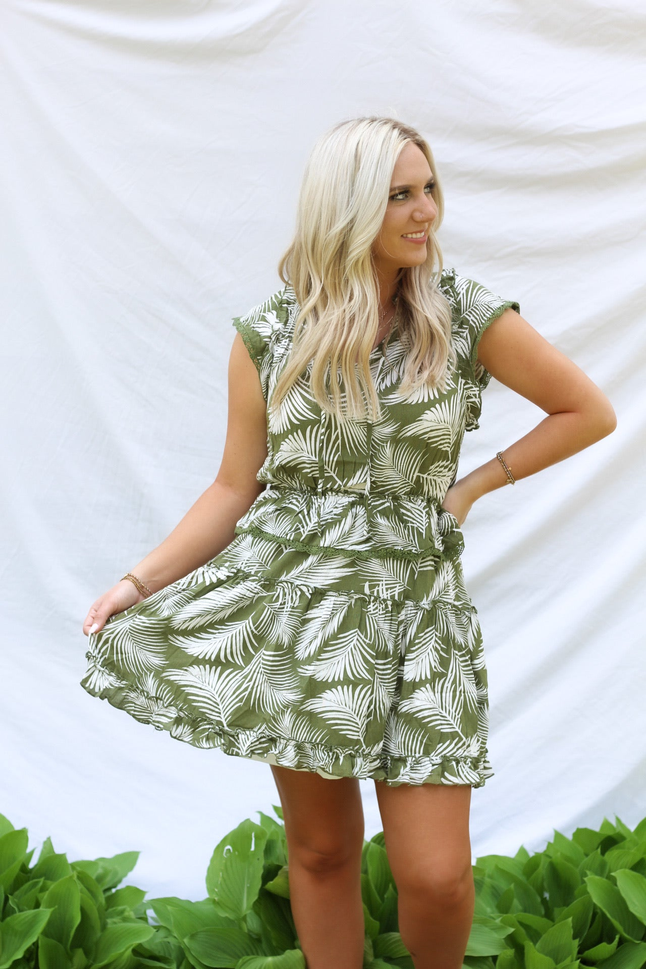 Jay Palm Leaf Dress - Olive