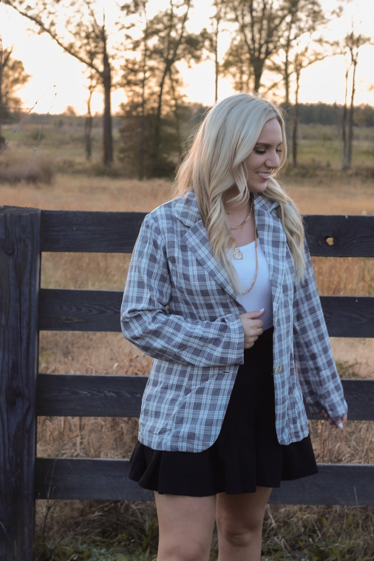 Plaid button front blazer