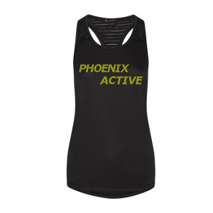 Phoenix Active - Ladies Smooth Workout Vest with fluorescent text
