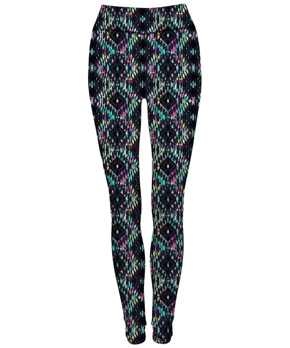 Phoenix Active - Ladies Reversible Aztec Print Workout Leggings