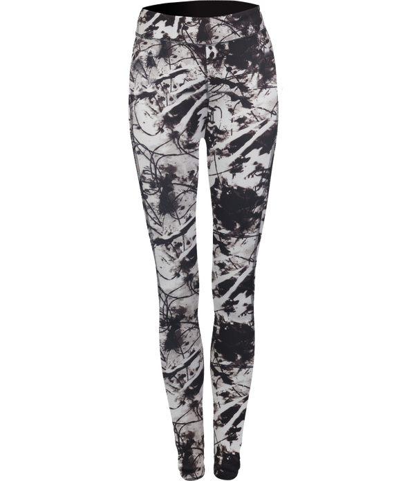 Phoenix Active - Ladies Reversible Black Print Workout Leggings