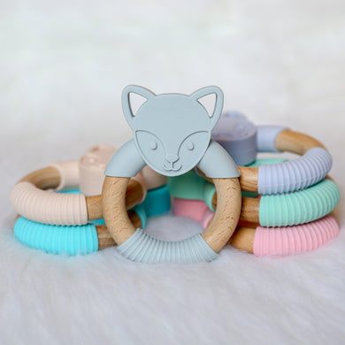 Fox Silicone Beech Wood Teether-Teether-Teal Olive Designs