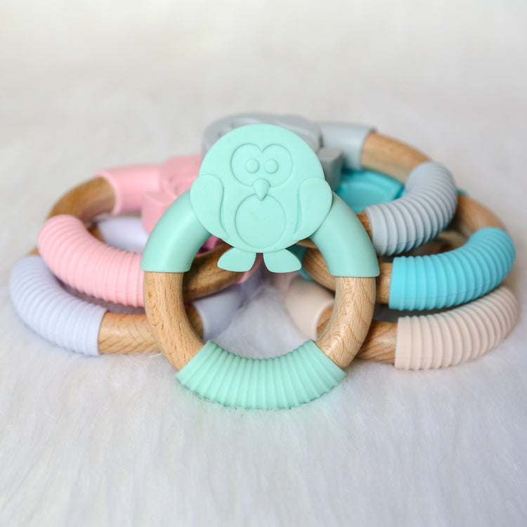 Owl Silicone Beech Wood Teether-Teether-Teal Olive Designs