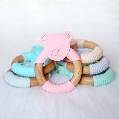 Bear Silicone Beech Wood Teether-Teether-Teal Olive Designs
