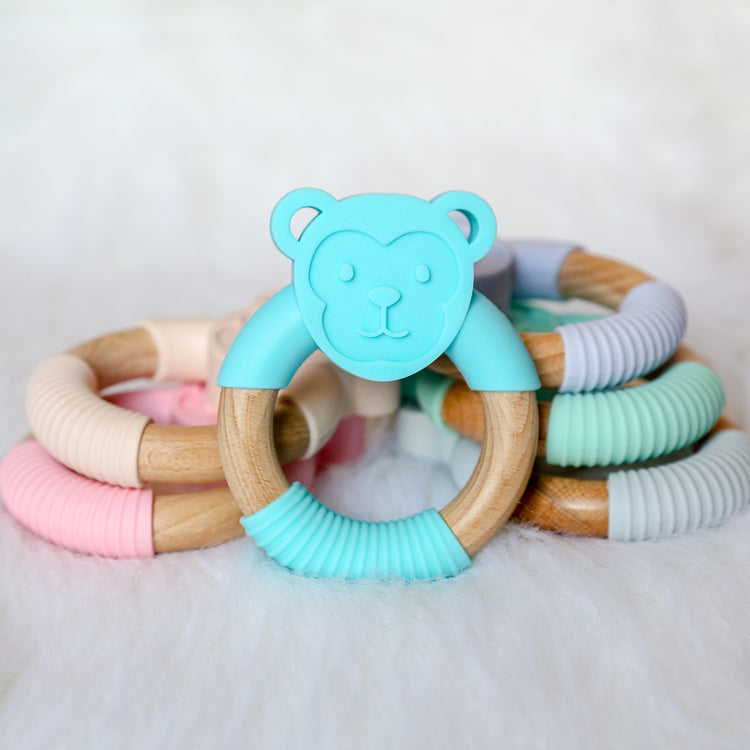 Monkey Silicone Beech Wood Teether-Teether-Teal Olive Designs