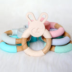 Bunny Silicone Beech Wood Teether-Teether-Teal Olive Designs