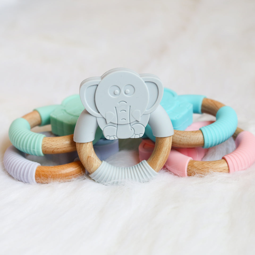 Elephant Silicone Beech Wood Teether-Teether-Teal Olive Designs