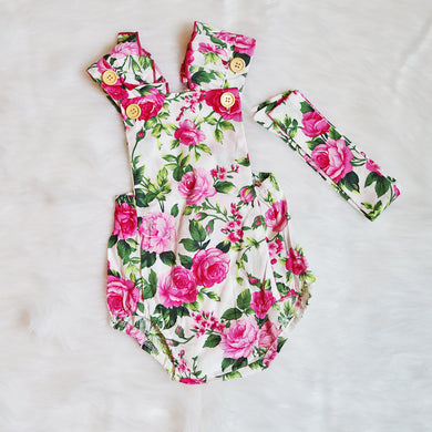 Floral Romper & Headband-Clothing-Teal Olive Designs