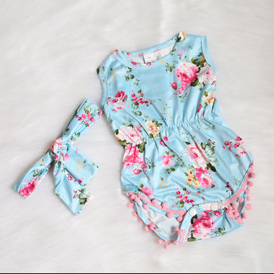 Floral Pom-Pom Romper & Headband-Clothing-Teal Olive Designs