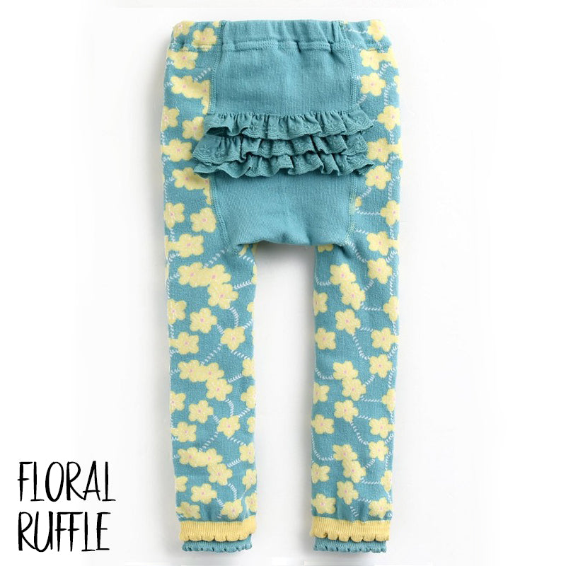 Baby Leggings - Floral Ruffle-Clothing-Teal Olive Designs
