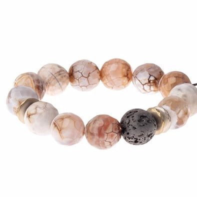 Lava & Faceted Gemstone Bracelet