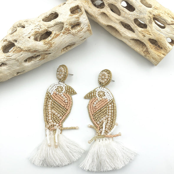 Beaded Bird Earrings w/ Tassle