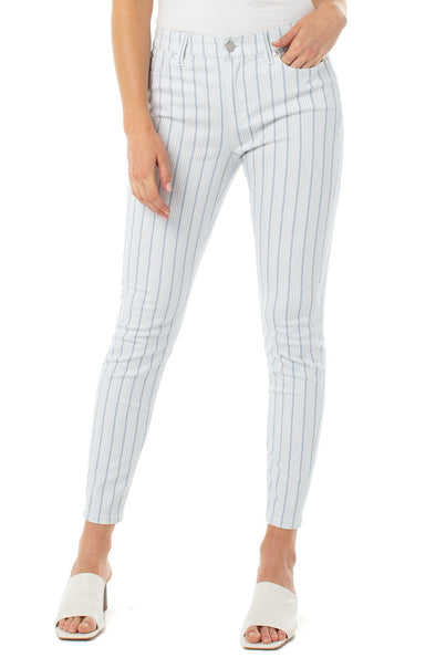 Abby Crop Skinny Jean in Blue White Stripe