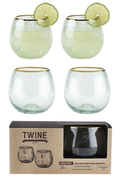 Gold Bubble Wine Glass Set