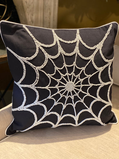 Black Cotton Pillow w/ White Beaded Spider Web