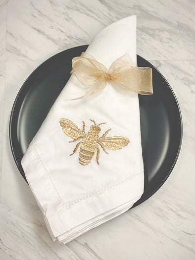 Set of 6 White & Gold Bee Napkins