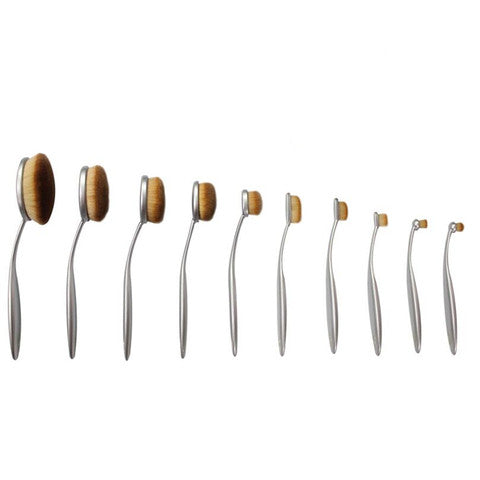 10 Piece Aphrodite Silver Oval Brush Set