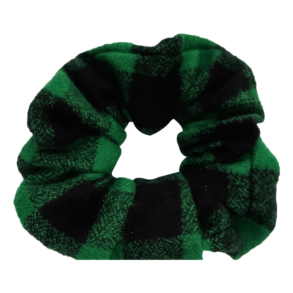 Green Buffalo FLANNEL Scrunchie - Bubbly Soaps