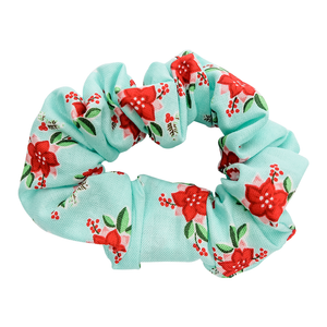 Teal Poinsettia Scrunchie - Bubbly Soaps