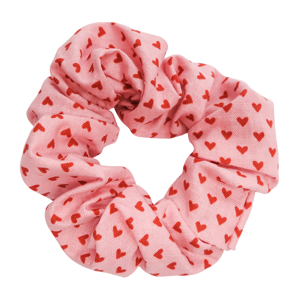 Pink Hearts Scrunchie