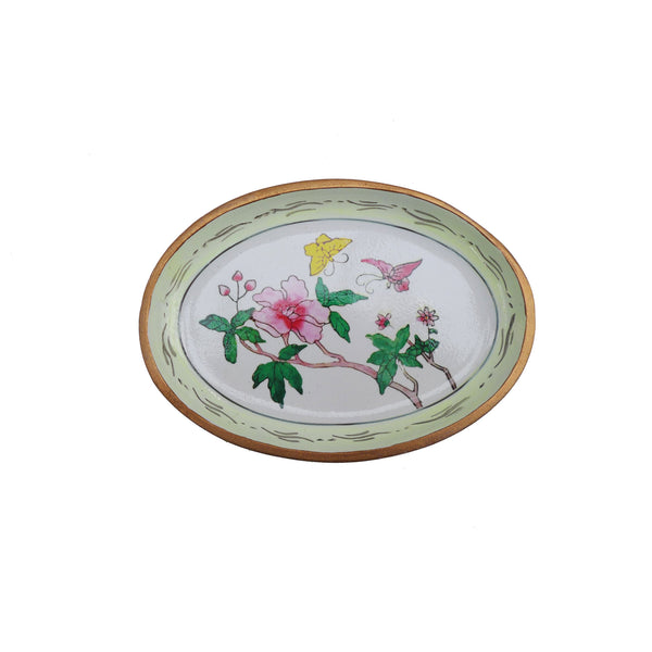 Peony Green Painted Plate by Doing Goods