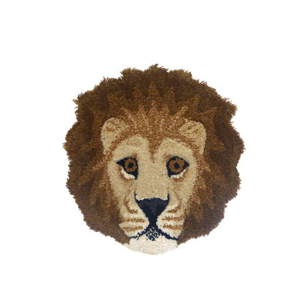 Moody Lion Head Rug | Doing Goods