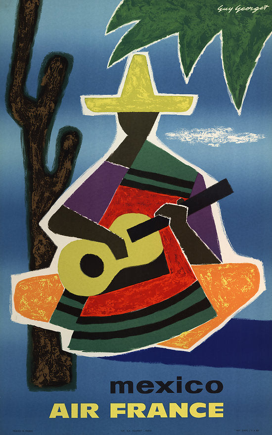air france mexico vintage travel poster