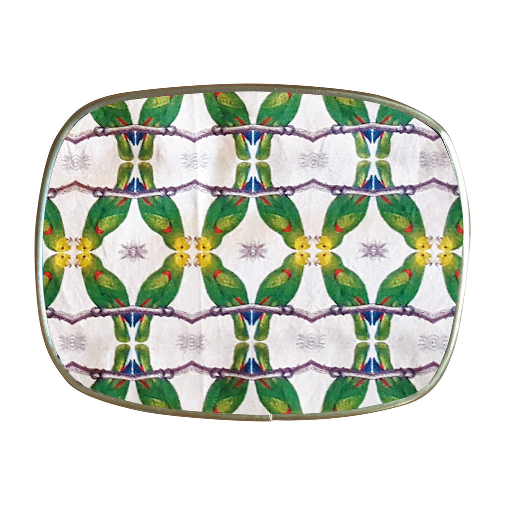 Green parrots trays by PatchNYC for Les Ottomans