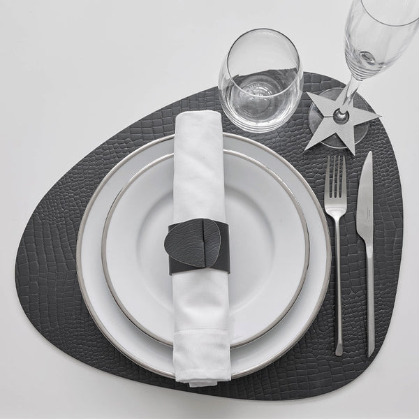 Croco Leather Curve Tableware Black