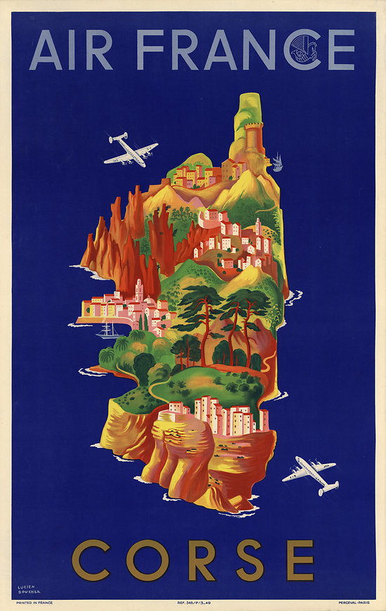 corsica air france vintage poster