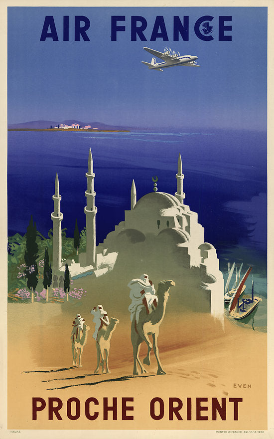 air france vintage travel poster proche orient