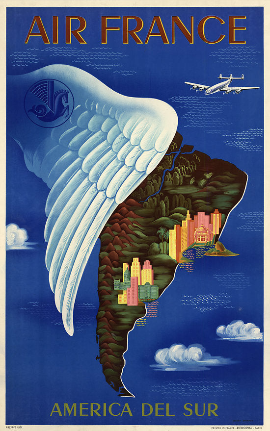 Air France Sud America vintage travel poster