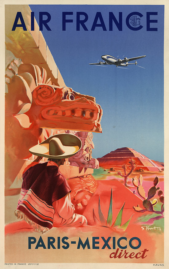 Air France vintage travel poster Paris Mexico