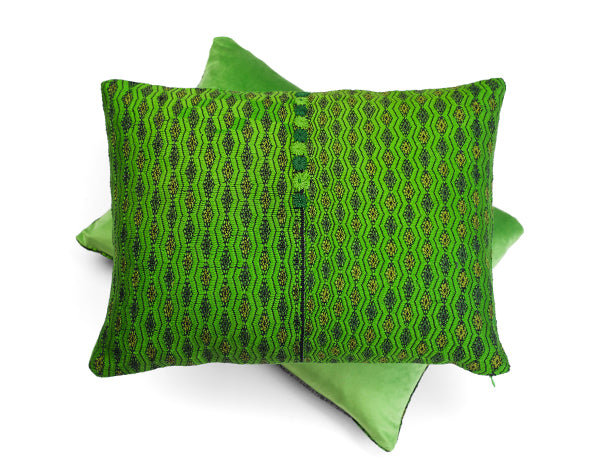 Almolonga Embroidered Green Cushion | Tone Textiles