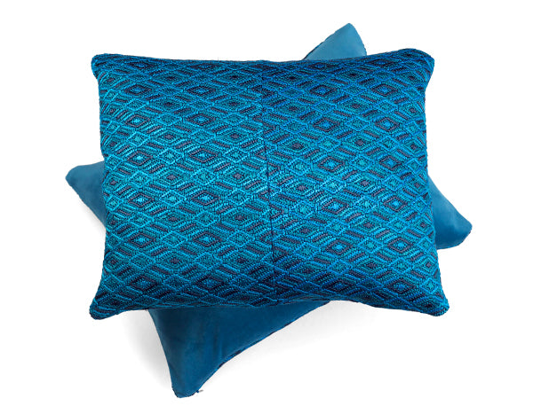 S.Maria Turquoise Embroidered Cushion | Tone Textiles