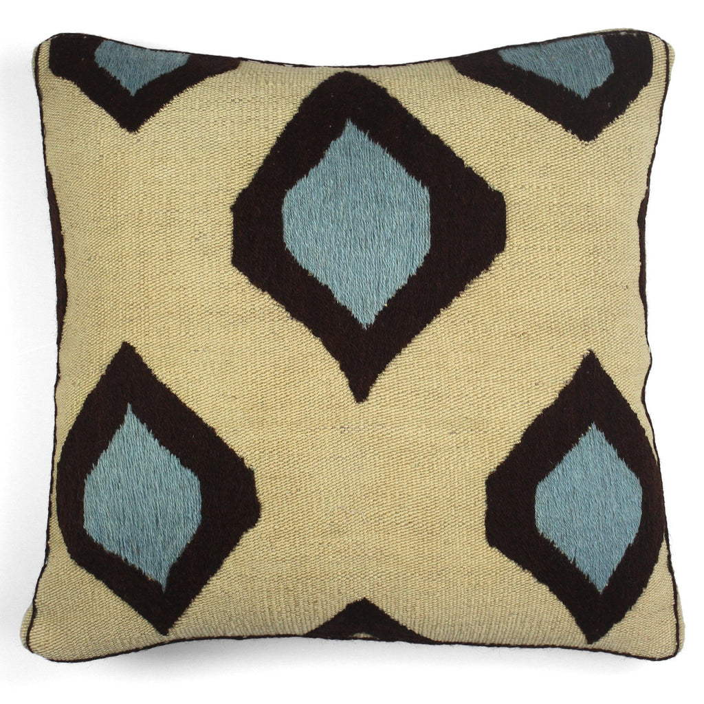 Embroidered Kilim Cushion Nature/Blue | Les-Ottomans