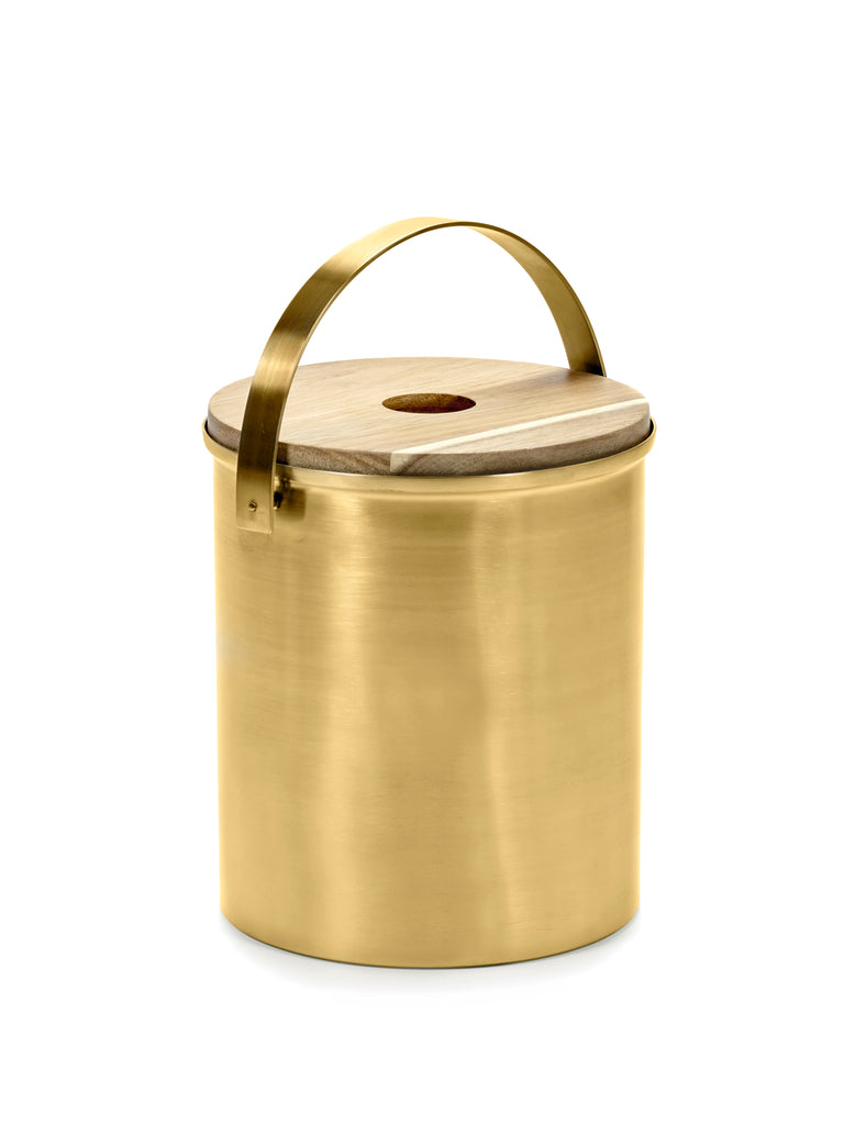 Brushed Steel Gold Ice Bucket by Bea Mombaers