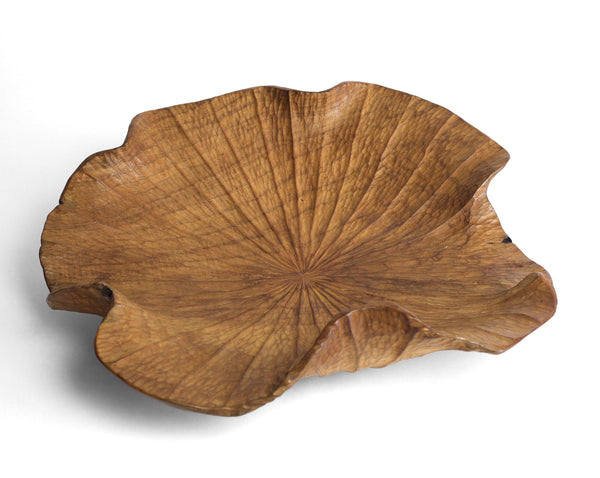 Lotus Leaf Organic Teak Wood Bowl Platter | Craft District Bali