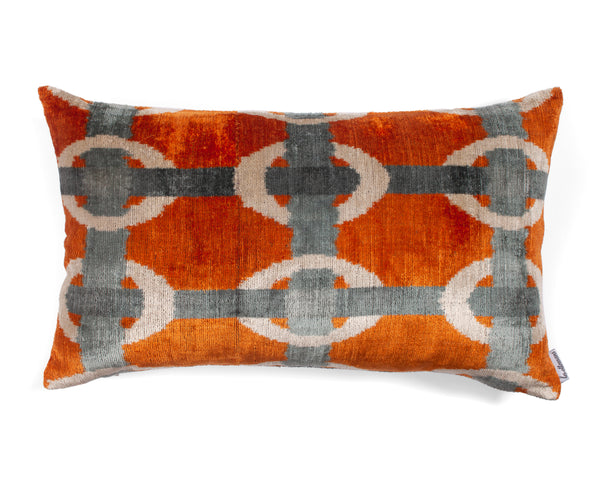 Velvet Cushion N. 381 Orange Blue | Les Ottomans