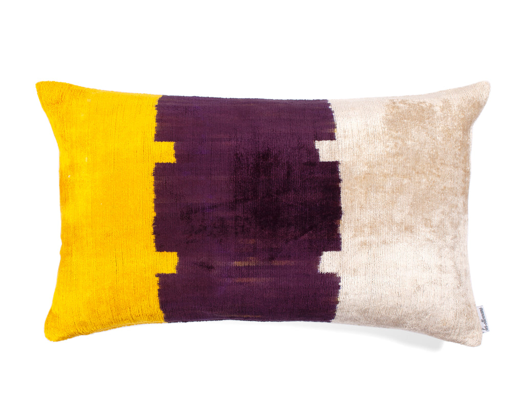 Velvet Cushion N. 388 Yellow Purple | Les Ottomans