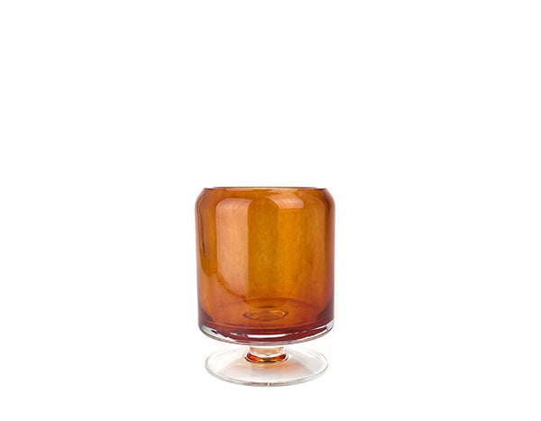 Glass Hurricane Vase Small Amber | JF Reborn
