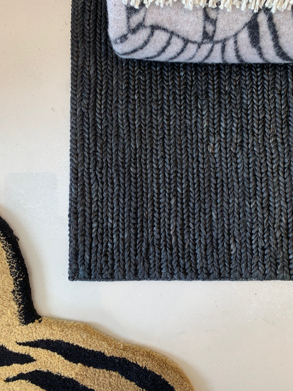 Black Skinny Braided Jute Rugs