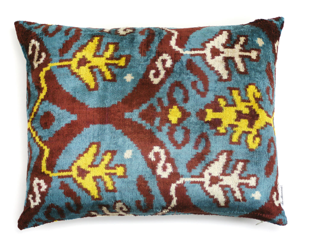 Silk Velvet Pillow Blue & Brown N. 292 | Les ottomans