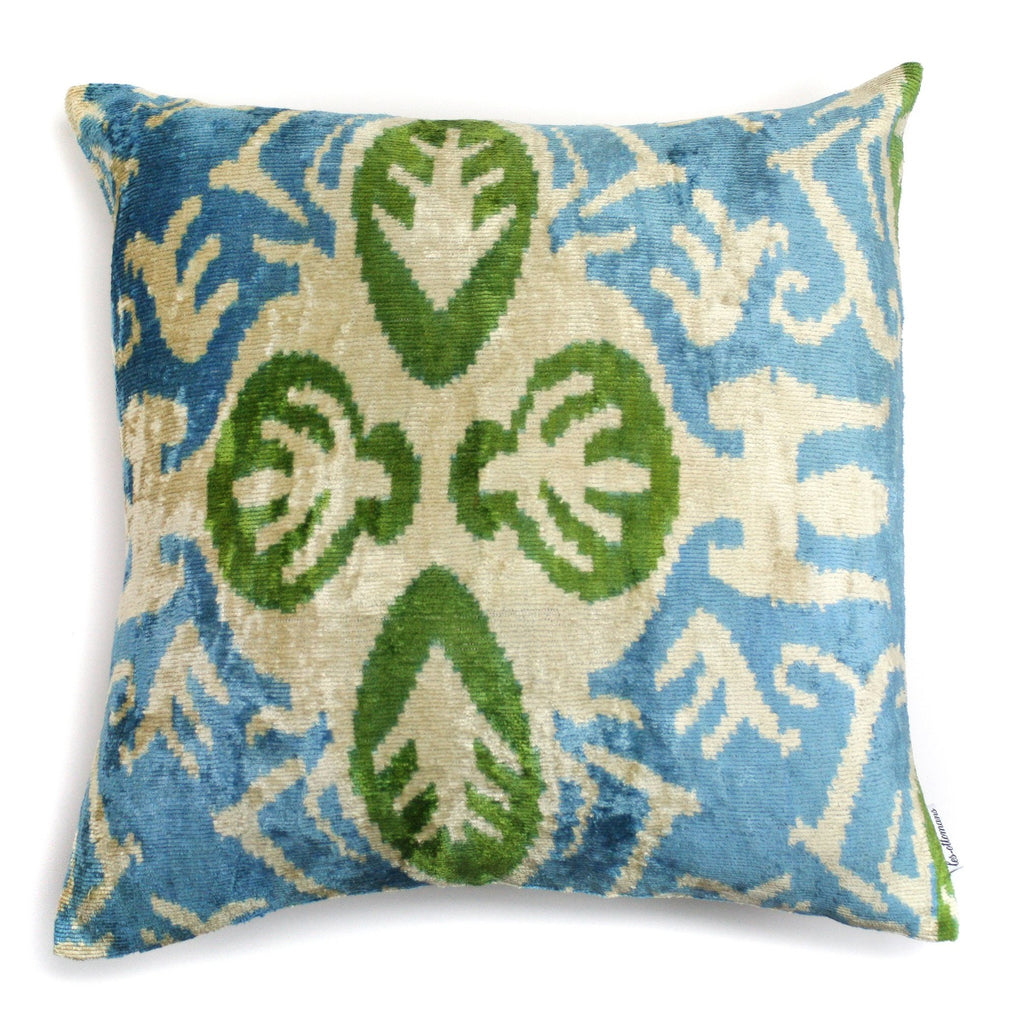 Silk Velvet Pillow Blue & Green | Les Ottomans