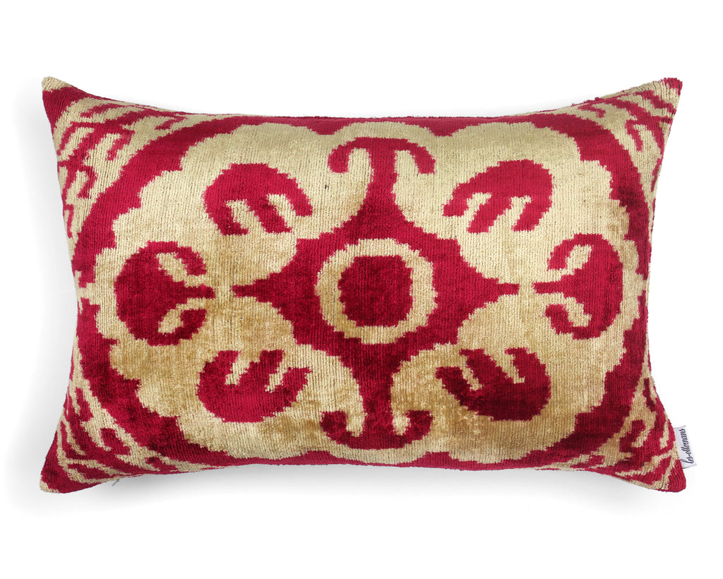Velvet Cushion N. 364 - Creme/Red