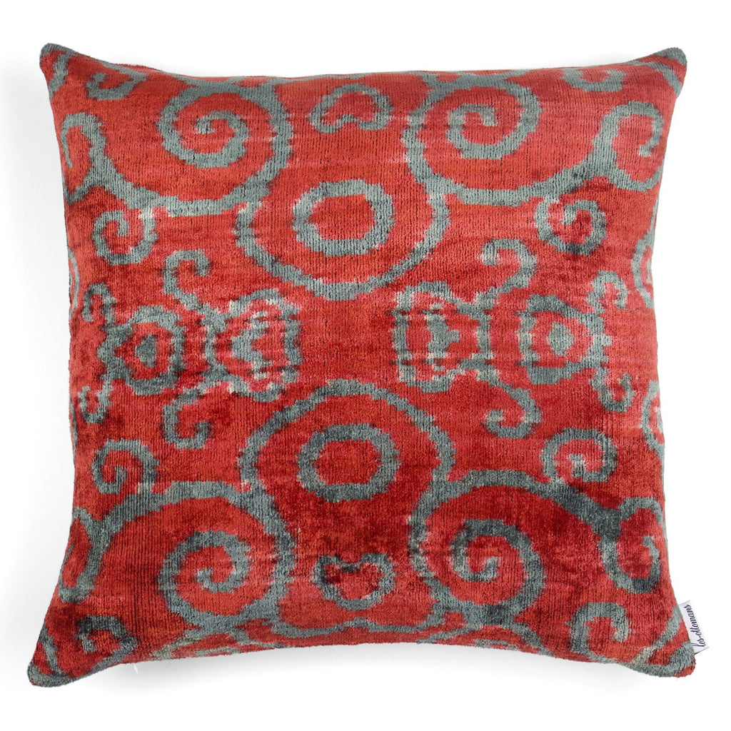 Velvet cushion N. 044 Grey Red | Les Ottomans